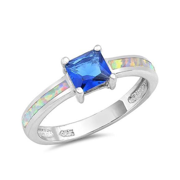 wedding ring princess blue sapphirelab white opal - Blue Wedding Ring